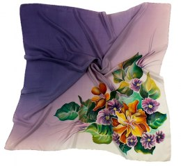 AM-118 Hand-painted silk scarf, 90x90cm