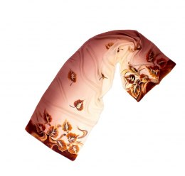 SZ-031 Brown-beige Hand Painted Silk Scarf, 170x45 cm