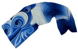 SZ-094 Blue-white Hand Painted Silk Scarf, 170x45 cm