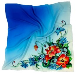 AM-128 Hand-painted silk scarf, 90x90cm