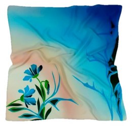 AM-132 Hand-painted silk scarf, 90x90cm