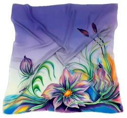AM-137 Hand-painted silk scarf, 90x90cm