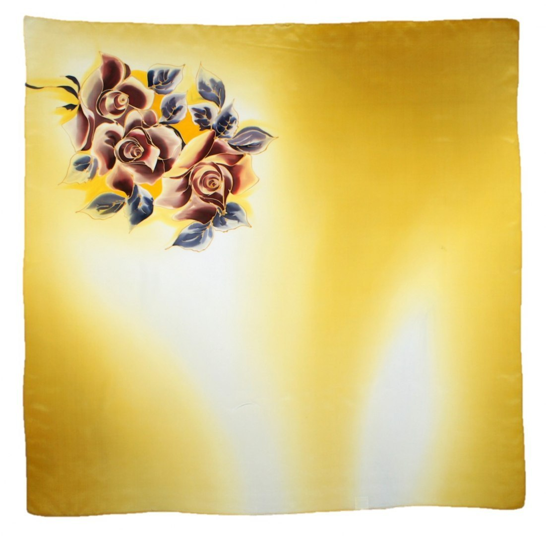 AM-432 Hand-painted silk scarf, 90x90cm