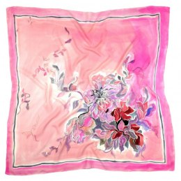Pink Hand Painted Silk Scarf, 90x90cm
