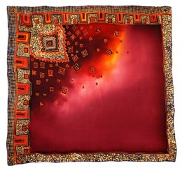 Maroon Hand Painted Silk Scarf, 90x90cm