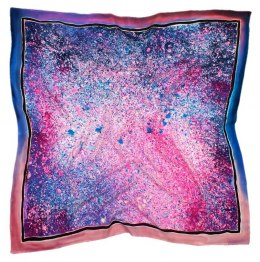 Violet-pink Hand Painted Silk Scarf, 90x90cm
