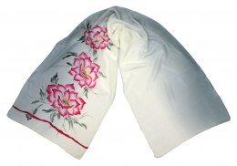 SZ-093 White Hand Painted Silk Scarf, 170x45 cm