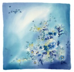 Blue-blue Hand Painted Silk Scarf, 90x90cm