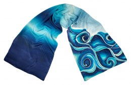 SZ-108 Navy-blue Hand Painted Silk Scarf, 170x45 cm