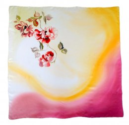 AM-449 Hand-painted silk scarf, 90x90cm
