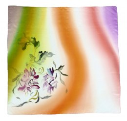 AM-334 Hand-painted silk scarf, 90x90cm