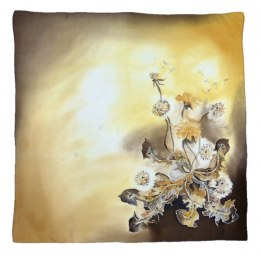 Brown Hand Painted Silk Scarf, 90x90cm