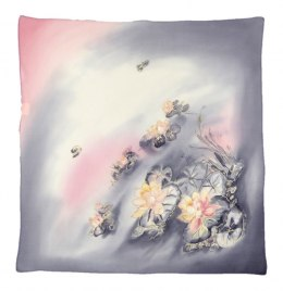 AM-532 Hand-painted silk scarf, 55x55 cm