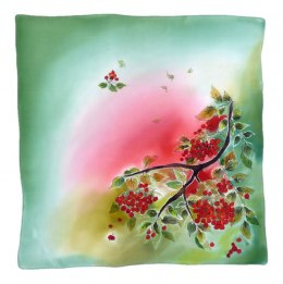 AM-534 Hand-painted silk scarf, 55x55 cm