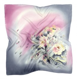 AM7-214 Hand-painted silk scarf, 70x70 cm