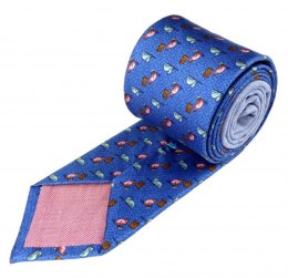 IT-005 Blue silk tie with cats - MILANO