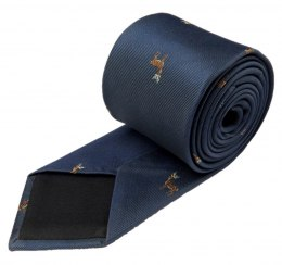 Navy blue and gray tie for a hunter with a deer