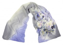SZ-221 Gray-lilac Hand Painted Silk Scarf, 170x45 cm