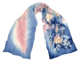 SZ-222 Blue-Pink Hand Painted Silk Scarf, 170x45 cm