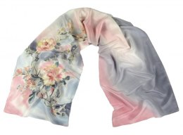 SZ-225 Gray-pink Hand Painted Silk Scarf, 170x45 cm