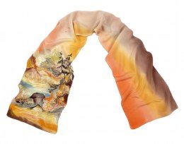 Small Orange-brown Hand-Painted Silk Scarf, 135x30cm