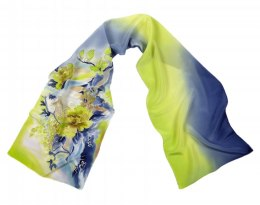 Small Blue and Yellow Hand Painted Silk Scarf, 135x30cm