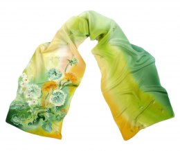 Hand Painted Small Green Silk Scarf, 135x30cm