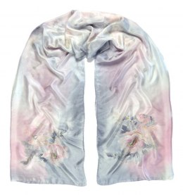 SZM-004 Large Gray Silk Scarf Hand Painted, 250x90 cm