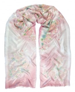 SZM-006 Large Pink Hand Painted Silk Scarf, 250x90 cm
