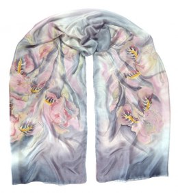 SZM-008 Large gray and pink hand-painted silk scarf, 250x90 cm