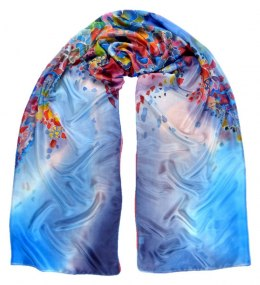 SZM-010 Large Red and Blue Hand Painted Silk Scarf, 250x90 cm
