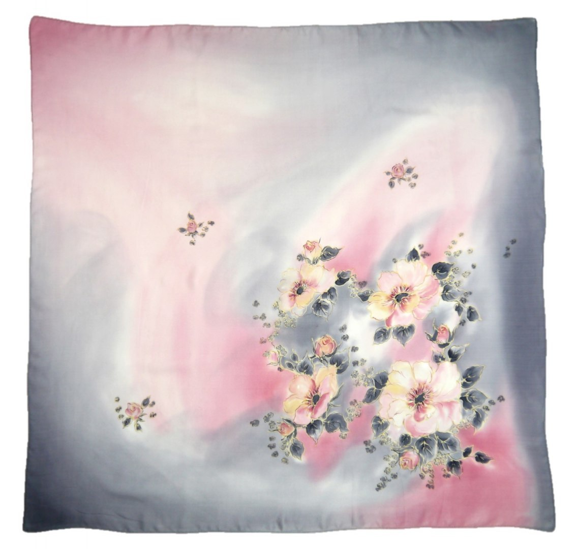 AM-410 Hand-painted silk scarf, 90x90cm (2)
