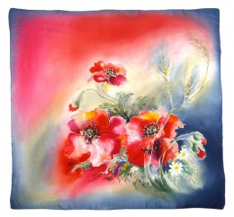 Red-blue Hand Painted Silk Scarf, 90x90cm