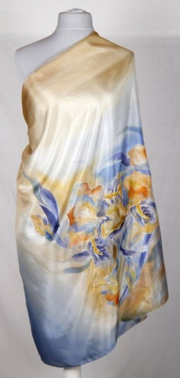 SZM-005 Large Amber and Blue Silk Scarf Hand Painted, 250x90 cm
