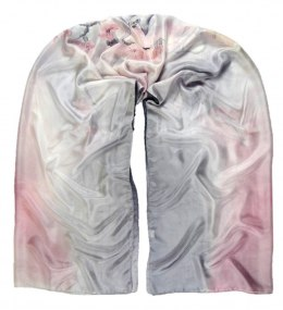 SZM-011 Large Gray and Pink Hand-Painted Silk Scarf, 250x90 cm