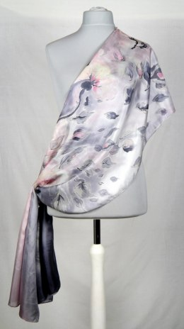 SZM-014 Large Gray Silk Scarf Hand Painted, 250x90 cm