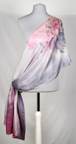 SZM-015 Large Pink and Gray Silk Scarf Hand Painted, 250x90 cm