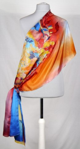 SZM-017 Large Orange and Blue Hand-Painted Silk Scarf, 250x90 cm