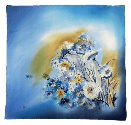 Blue Hand Painted Silk Scarf, 90x90cm