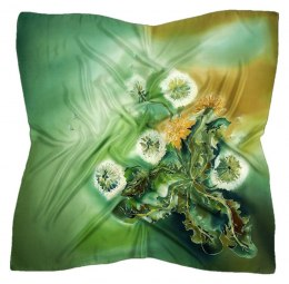 Green Hand Painted Silk Scarf, 90x90cm