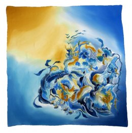 Blue-Yellow Hand Painted Silk Scarf, 90x90cm