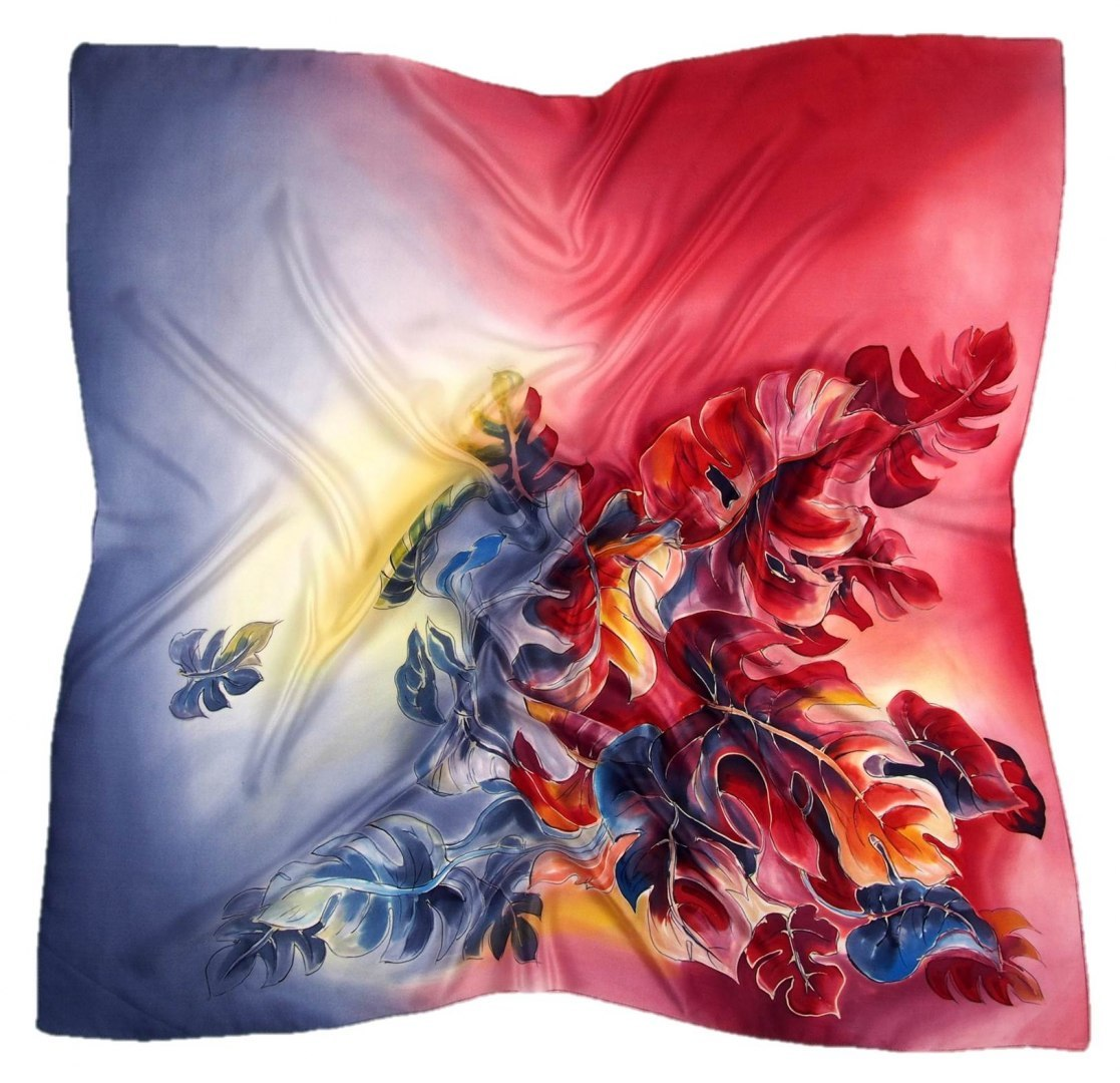 AM-424 Hand-painted silk scarf, 90x90cm (1)