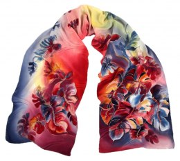 Red-blue Hand Painted Silk Scarf, 170x45 cm
