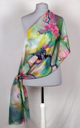 Large Green and pink Hand-painted silk scarf, 250x90 cm