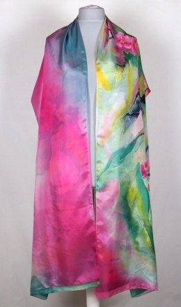 SZM-021 Large Green and pink Hand-painted silk scarf, 250x90 cm