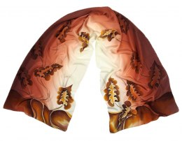 SZ-089 Brown-beige Hand Painted Silk Scarf, 170x45 cm