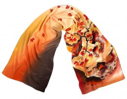 SZ-104 Brown Hand Painted Silk Scarf, 170x45 cm