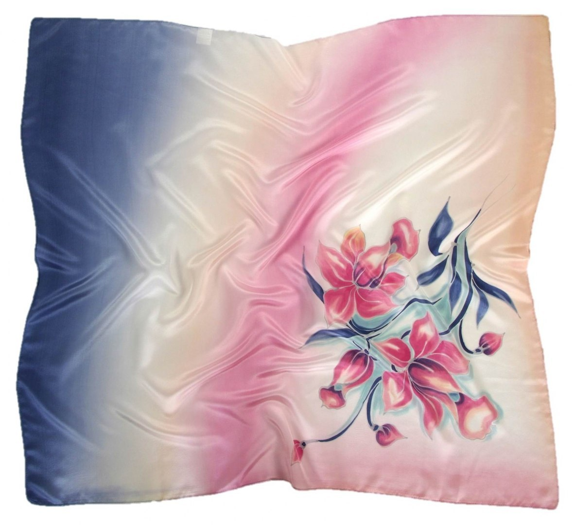 AM-462 Hand-painted silk scarf, 90x90cm