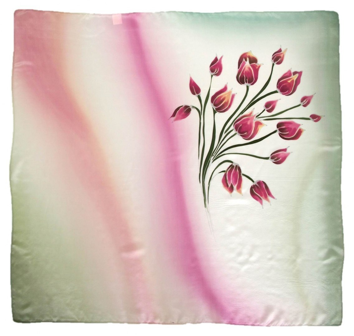 AM-463 Hand-painted silk scarf, 90x90cm