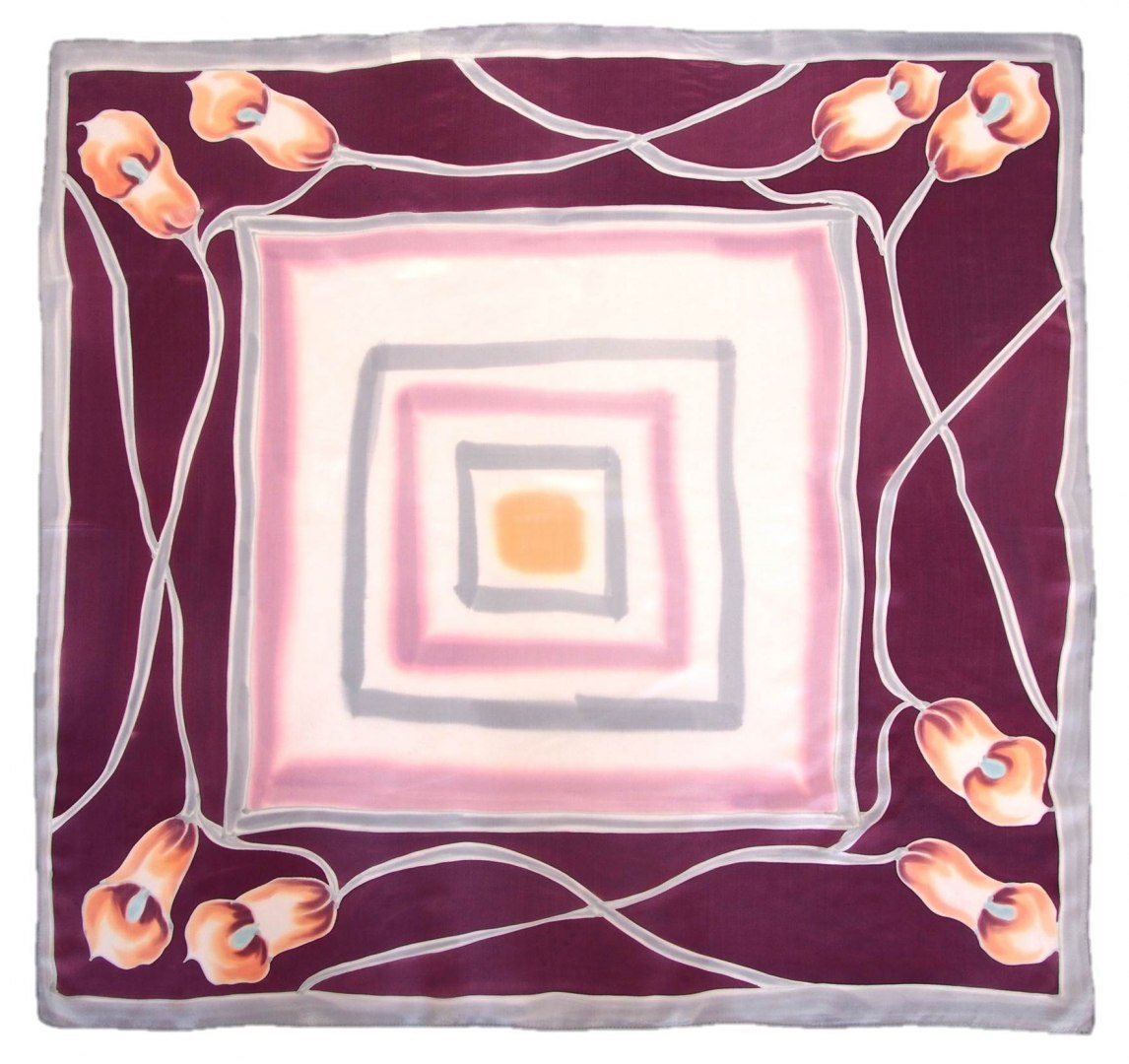 AM-464 Hand-painted silk scarf, 90x90cm